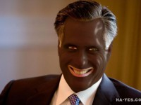 Mitt Romney in Blackface in response to brownface episode on Univision. Jim Hayes political humor.